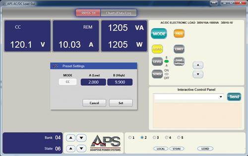 AC Load Main Control Screen